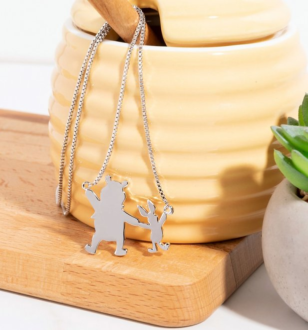 White Gold Plated Disney Winnie The Pooh And Piglet Necklace