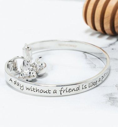 White Gold Plated Disney Winnie The Pooh Friendship Bangle