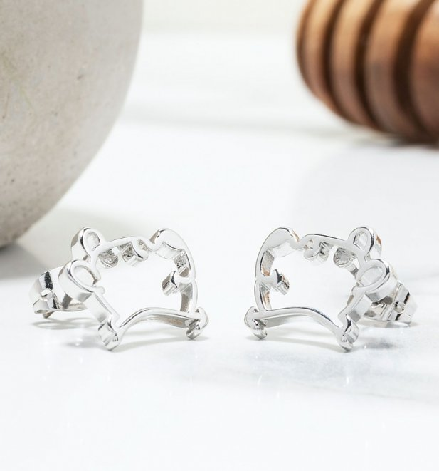 White Gold Plated Disney Winnie The Pooh Outline Stud Earrings