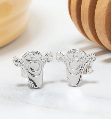 White Gold Plated Disney Winnie The Pooh Tigger Stud Earrings