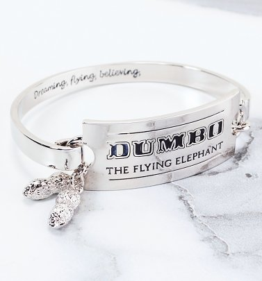 White Gold Plated Dumbo Ticket Bangle from Couture Kingdom