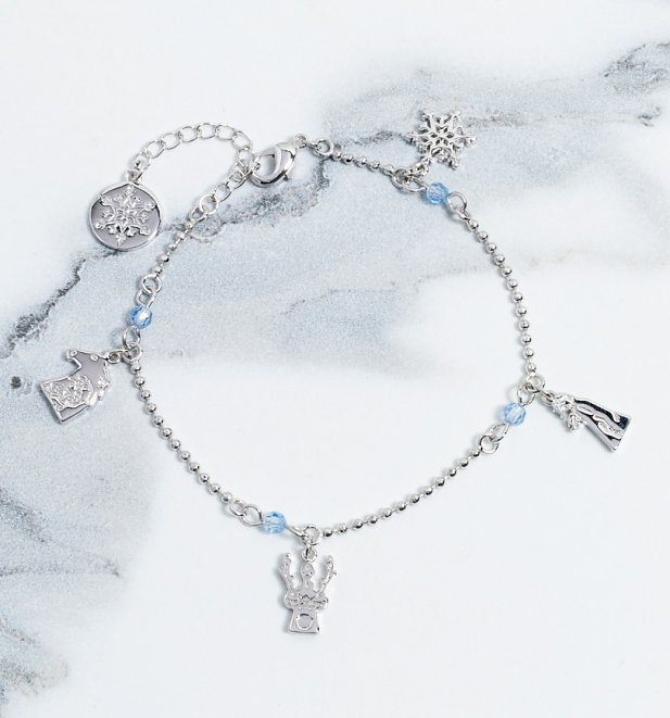 White Gold Plated Frozen 2 Characters Bracelet from Disney by Couture Kingdom