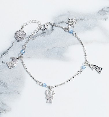 White Gold Plated Frozen 2 Characters Bracelet