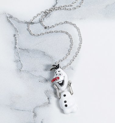 White Gold Plated Frozen 2 Olaf Movable Head Swarovski Crystal Necklace from Disney by Couture Kingdom