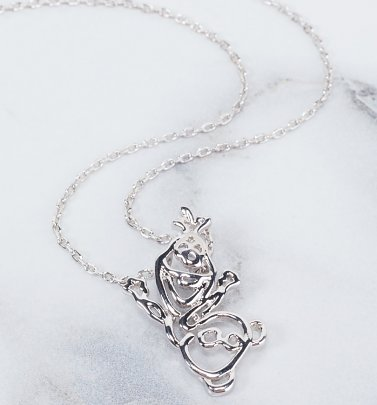 White Gold Plated Frozen Olaf Outline Necklace from Disney By Couture Kingdom