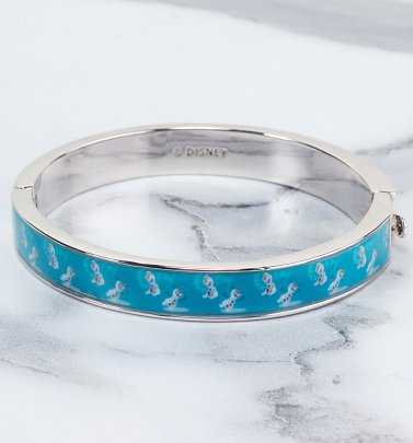 White Gold Plated Frozen Warm Hugs Bangle from Disney by Couture Kingdom