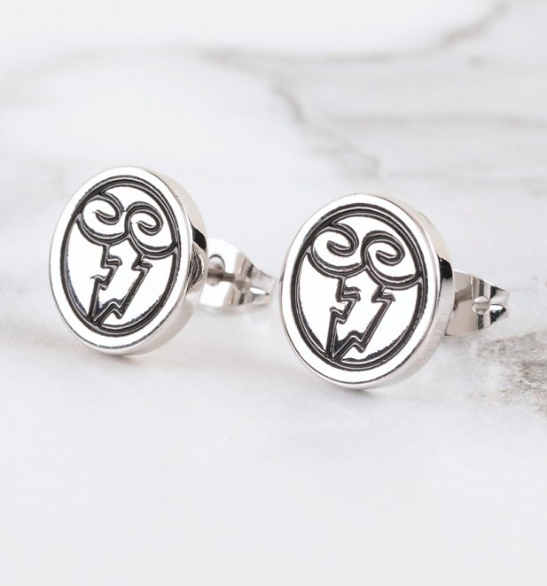 White Gold Plated Hercules Zeus Symbol Stud Earrings