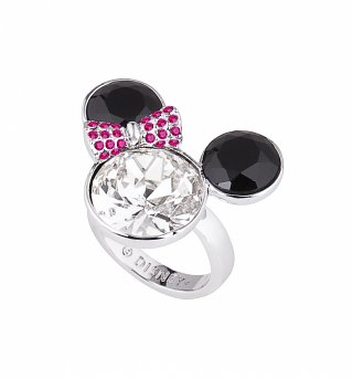 White Gold Plated Large Minnie Mouse Head With Bow Ring from Disney Couture
