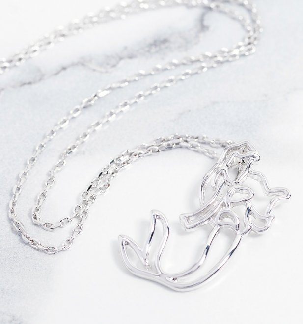 White Gold Plated Little Mermaid Ariel Outline Necklace