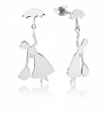 White Gold Plated Mary Poppins Drop Earrings from Disney by Couture Kingdom