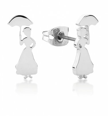 White Gold Plated Mary Poppins Stud Earrings from Disney by Couture Kingdom