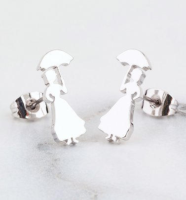 White Gold Plated Mary Poppins Stud Earrings