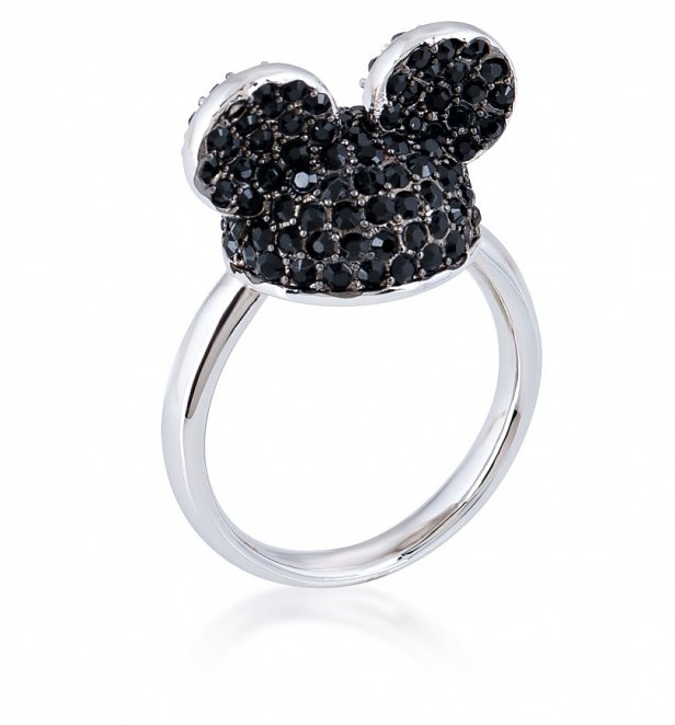 White Gold Plated Mickey Mouse Black Crystal Ears Ring from Disney by Couture Kingdom