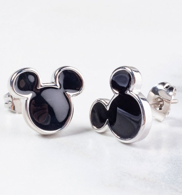 White Gold Plated Mickey Mouse Black Enamel Stud Earrings from Disney by Couture Kingdom