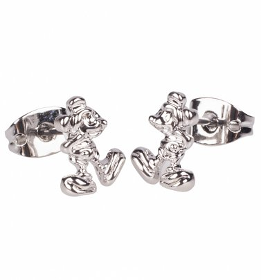 White Gold Plated Mickey Mouse Figure Stud Earrings from Disney by Couture Kingdom