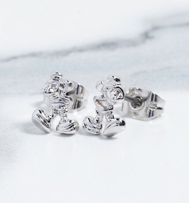 White Gold Plated Mickey Mouse Figure Stud Earrings