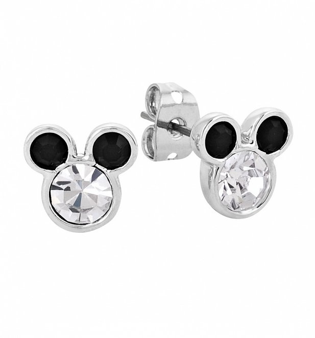 White Gold Plated Mickey Mouse Head Stud Earrings With Crystals from Disney Couture