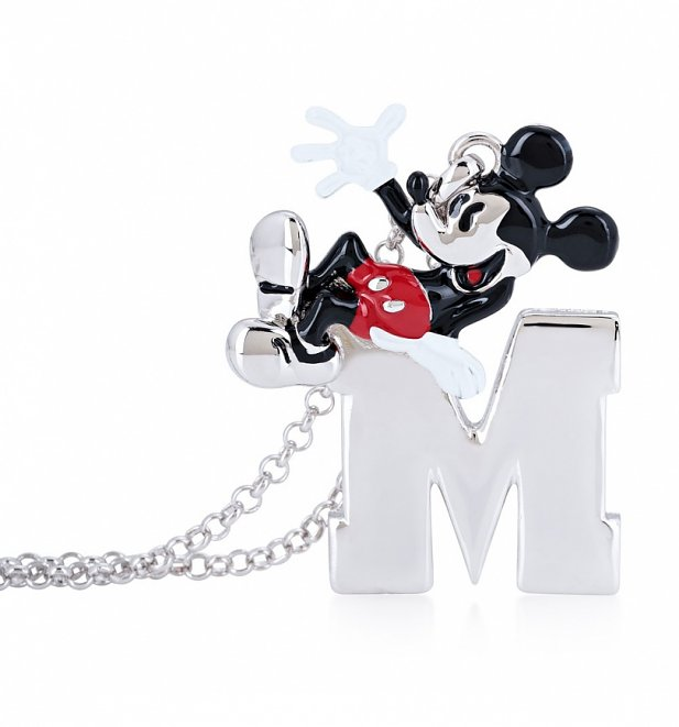 White Gold Plated Mickey Mouse M for Mickey Necklace from Disney by Couture Kingdom