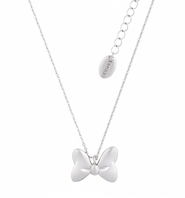 White Gold Plated Minnie Mouse Bow Necklace from Disney Couture