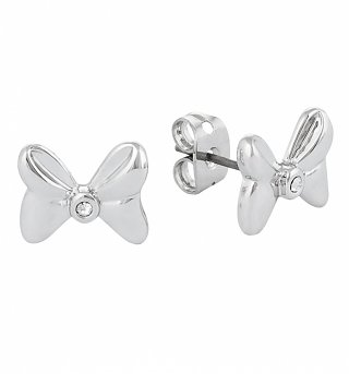 White Gold Plated Minnie Mouse Bow Stud Earrings With Crystals from Disney Couture