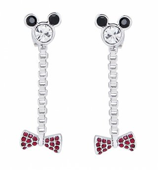 White Gold Plated Minnie Mouse Head And Bow Crystal Drop Earrings from Disney Couture