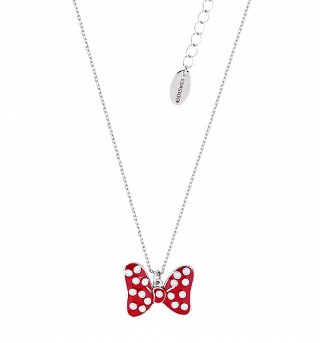 White Gold Plated Minnie Mouse Red Enamel Bow Necklace from Disney Couture
