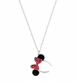 White Gold Plated Minnie Mouse Red Enamel Headband Necklace from Disney Couture