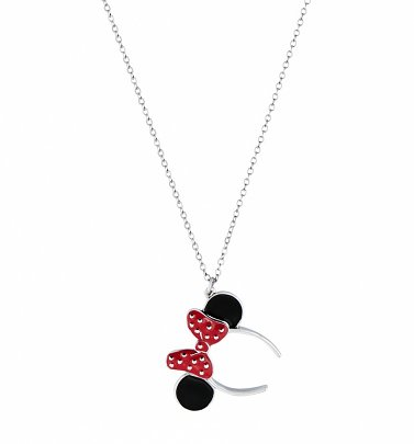 White Gold Plated Minnie Mouse Red Enamel Headband Necklace from Disney by Couture Kingdom