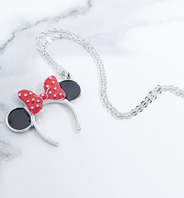 White Gold Plated Minnie Mouse Red Enamel Headband Necklace