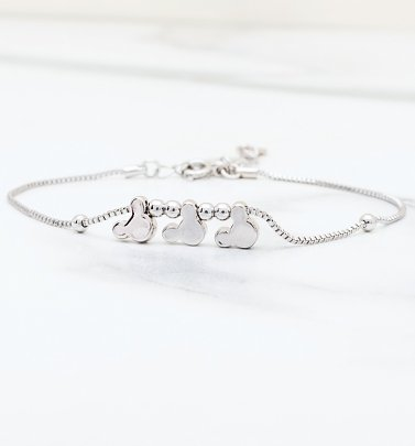 White Gold Plated Minnie and Mickey Mouse Heads Charm Bracelet