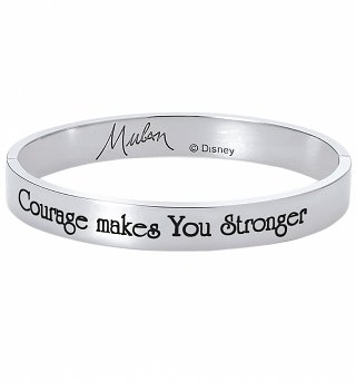 White Gold Plated Mulan Courage Makes You Stronger Bangle from Disney By Couture Kingdom