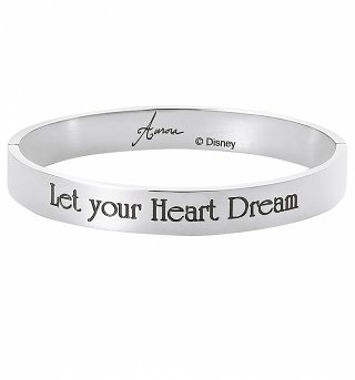 White Gold Plated Sleeping Beauty Aurora Let Your Heart Dream Bangle from Disney By Couture Kingdom