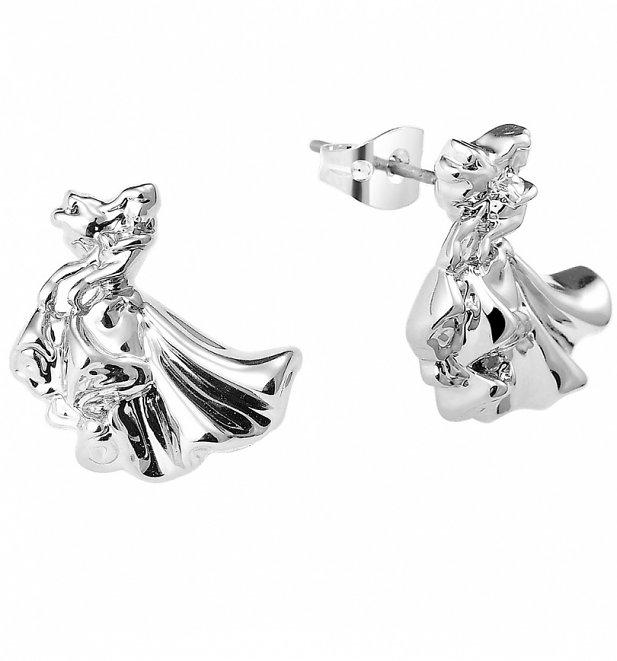 White Gold Plated Sleeping Beauty Aurora Stud Earrings from Disney By Couture Kingdom