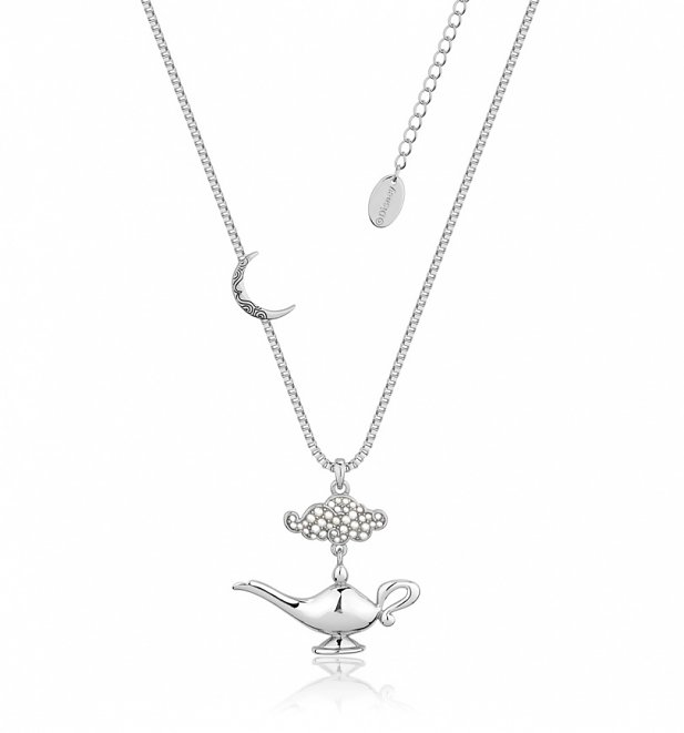 White Gold Plated Swarovski Pearl Aladdin Genie Lamp Necklace from Disney by Couture Kingdom