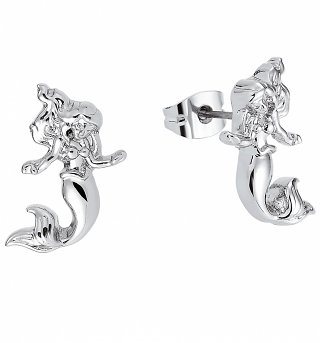 White Gold Plated The Little Mermaid Ariel Stud Earrings from Disney By Couture Kingdom