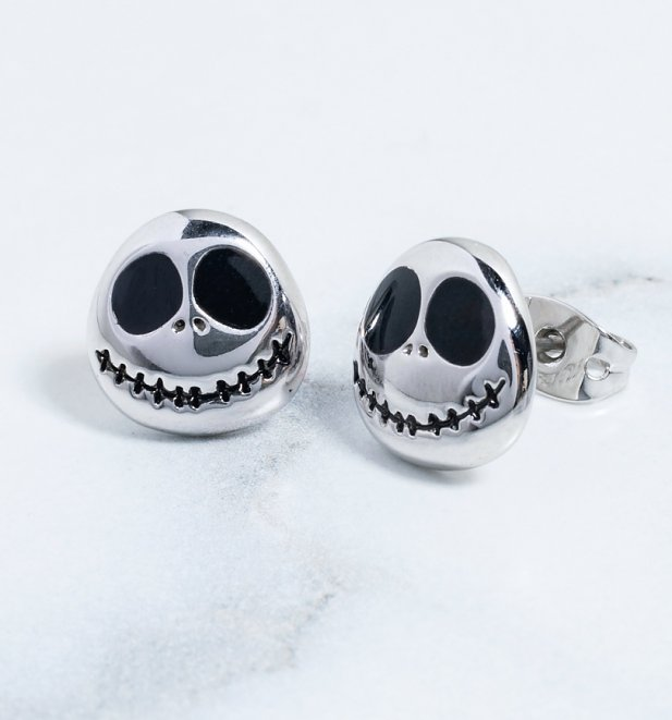 White Gold Plated The Nightmare Before Christmas Jack Skellington Stud Earrings