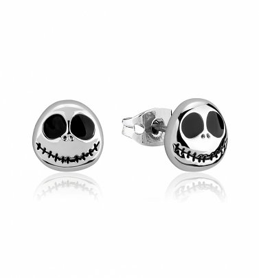 White Gold Plated The Nightmare Before Christmas Jack Skellington Stud Earrings from Disney by Couture Kingdom