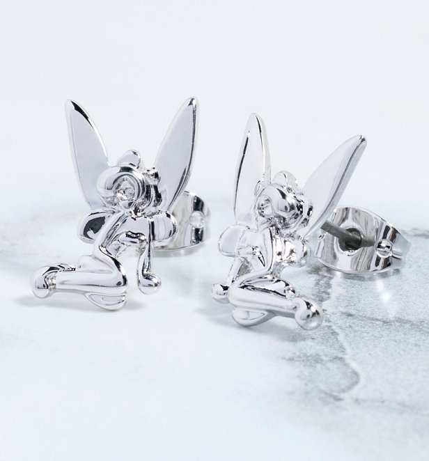 White Gold Plated Tinker Bell Stud Earrings