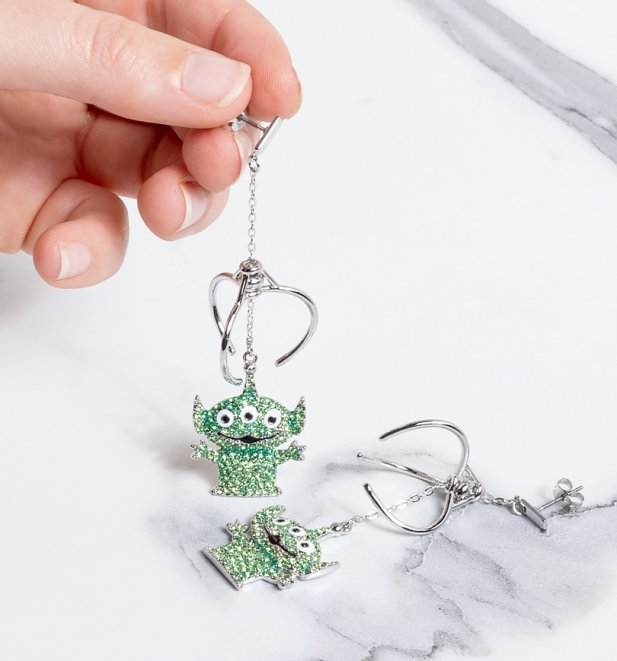 White Gold Plated Toy Story Alien Crystal Drop Earrings