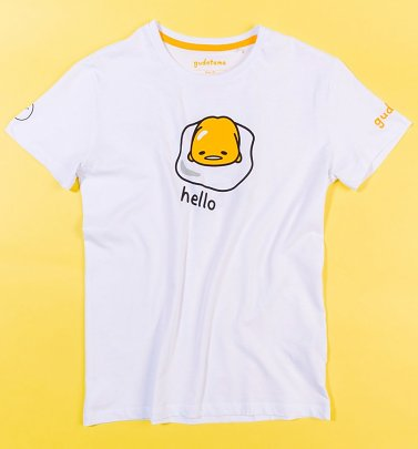 White Gudetama Bye T-Shirt with Back Print from Difuzed