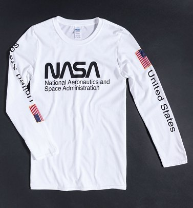 White NASA Long Sleeve T-Shirt with Sleeve Print
