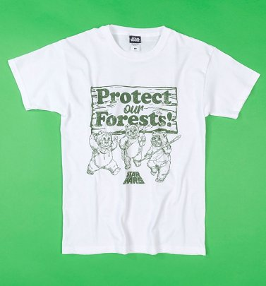 White Protect Our Forests Star Wars Ewoks T-Shirt
