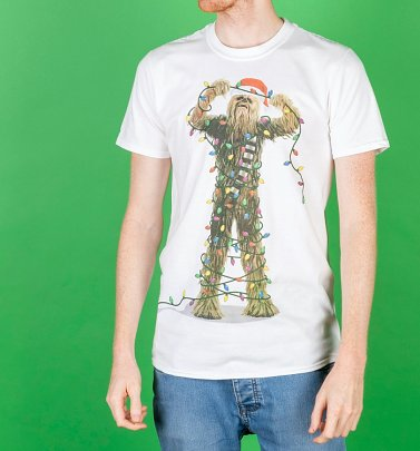 White Star Wars Chewbacca Lights Christmas T-Shirt