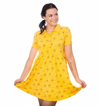 Winnie The Pooh All Over Print Button Up Dress from Cakeworthy