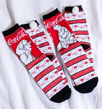 Women's 2pk Coca-Cola Polar Bear Socks with Pom Poms