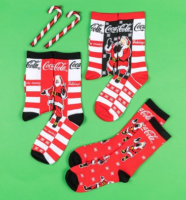Women's 3pk Coca-Cola Santa Socks Gift Set