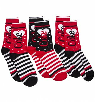 Women's 3pk Coke Stripey Socks Gift Set