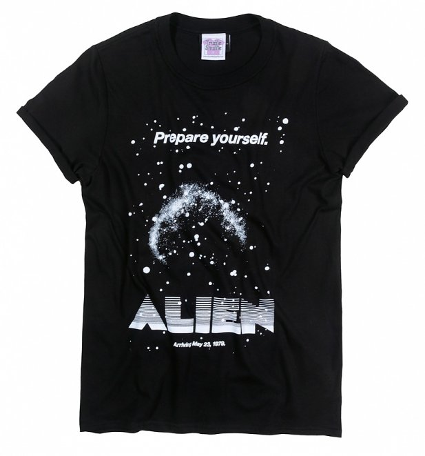 Women's Alien Retro Movie Poster Black Boyfriend Fit Rolled Sleeve T-Shirt