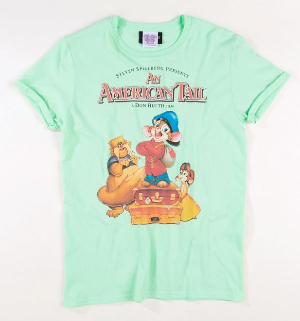 Women's An American Tail Mint Green Boyfriend Fit Rolled Sleeve T-Shirt