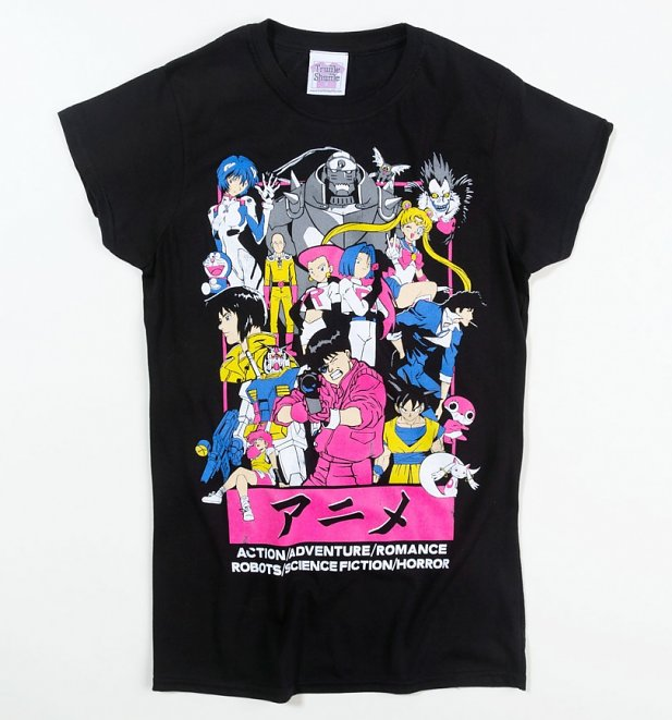 Women's Anime All Stars Fitted Black T-Shirt